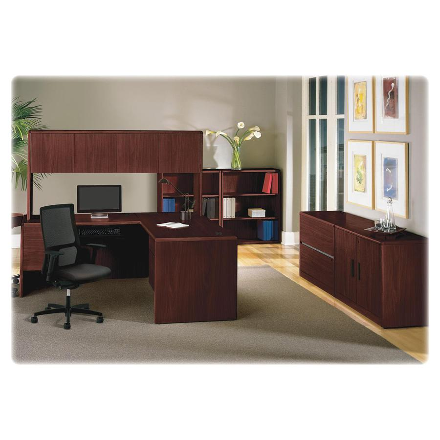 """HON 10700 Series Double Pedestal Credenza - 4-Drawer - 72"""" x 24"""" x 29.5"""" - 4 x File Drawer(s) - 2 Door(s) - Double Pedestal - Waterfall Edge - Material: Wood - Finish: Laminate, Mahogany. Picture 4"""