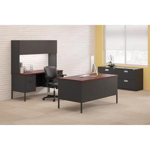 "HON Metro Classic Double Pedestal Desk - Laminated Rectangle Top - 4 Drawers - 72"" Table Top Width x 36"" Table Top Depth - 29.50"" Height - Assembly Required - Charcoal. Picture 2"