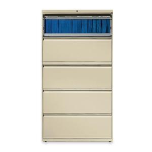 "HON Brigade 800 Series 5-Drawer Lateral - 36"" x 18"" x 64.3"" - 2 x Shelf(ves) - 5 x Drawer(s) for File - A4, Legal, Letter - Lateral - Interlocking, Durable, Label Holder, Leveling Glide, Recessed Hand. Picture 3"