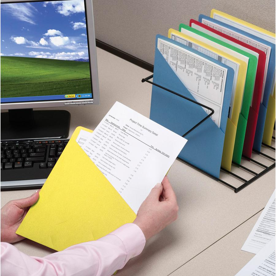 """Smead Organized Up Slash-Style File Jackets - Letter - 8 1/2"""" x 11"""" Sheet Size - 11 pt. Folder Thickness - Yellow - 1.49 lb - Recycled - 25 / Pack. Picture 2"""