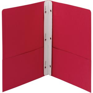 "Smead Letter Recycled Pocket Folder - 8 1/2"" x 11"" - 3 Fastener(s) - 1/2"" Fastener Capacity for Folder - 2 Internal Pocket(s) - Red - 10% - 25 / Box. Picture 3"