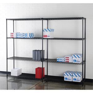 """Lorell Starter Shelving Unit - 48"""" x 18"""" x 72"""" - 4 x Shelf(ves) - 4000 lb Load Capacity - Black - Powder Coated - Steel - Assembly Required. Picture 3"""
