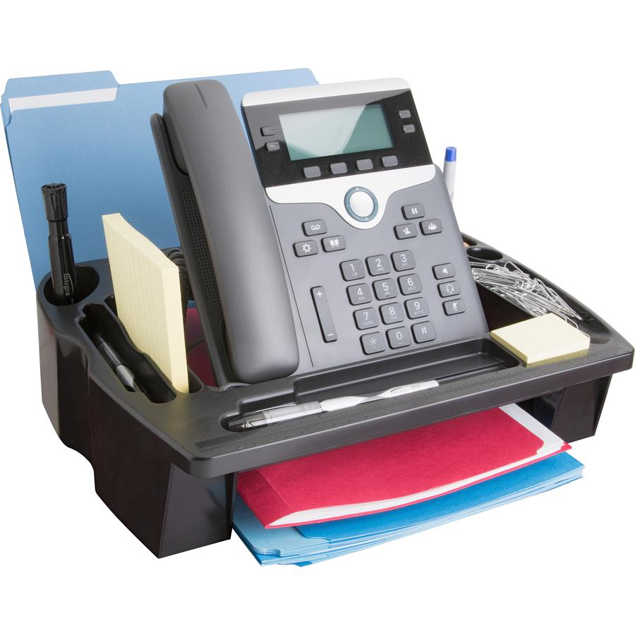 """Compucessory Telephone Stand/Organizer - 5"""" Height x 11.5"""" Width x 9.5"""" Depth - Desktop - Non-skid Base, Cable Management - Black - Plastic - 1 Each. Picture 2"""