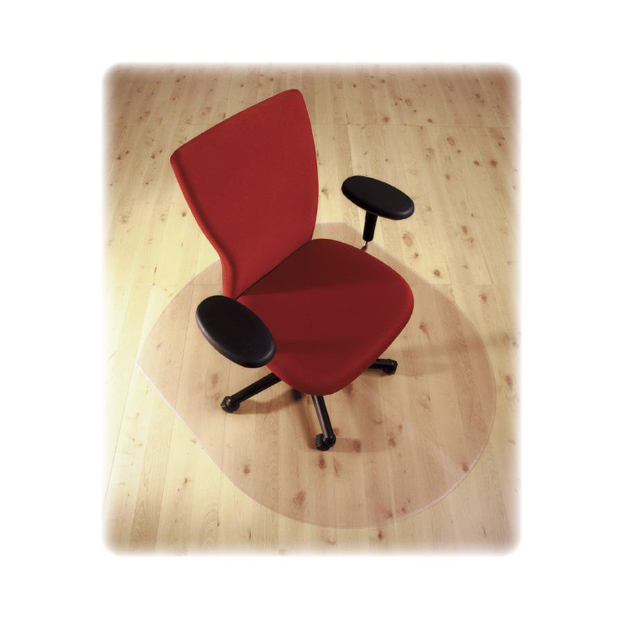 """Cleartex Ultimat Chair Mat, Contoured Shape, Clear Polycarbonate, For Hard Floor, Size 39"""" x 49"""". Picture 4"""