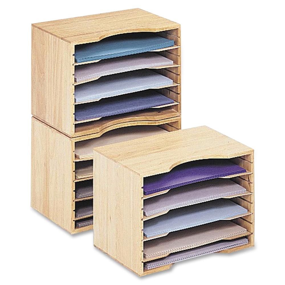"Safco Wood Stackable Sorters - 5 Compartment(s) - 4 Divider(s) - 9.5"" Height x 12.8"" Width x 9.3"" Depth - Desktop - Light Oak - Wood - 1Each. Picture 5"