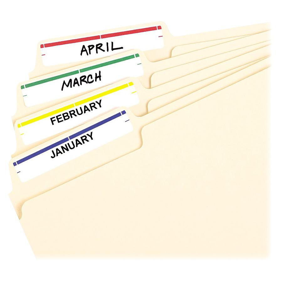 """Avery® reg; File Folder Labels - 4"""" Height x 6"""" Width - Permanent Adhesive - Rectangle - Laser, Inkjet - Dark Blue, Dark Red, Green, Yellow - Paper - 7 / Sheet - 36 Total Sheets - 252 Total Label(. Picture 2"""