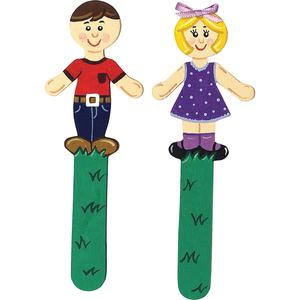 """Creativity Street People Shaped Wood Craft Sticks - 2""""5.38"""" - 1 Pack - Natural - Wood. Picture 2"""