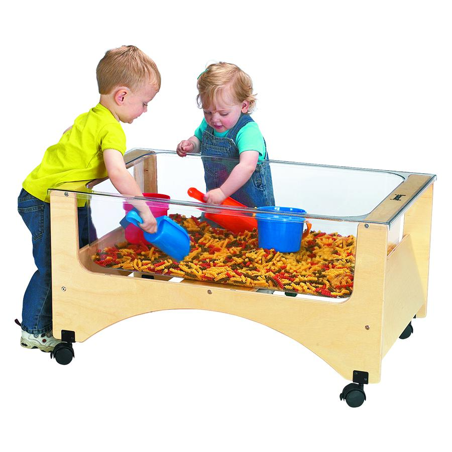 """Jonti-Craft Toddler See-thru Sensory Table - 20"""" Height x 37"""" Width x 23"""" Depth - Assembly Required - Baltic, Clear. Picture 2"""