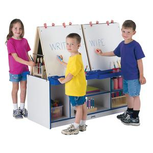 Rainbow Accents 4 Station Art Center - Freckled Gray, Yellow Stand - Floor Standing - Assembly Required - 1 Each. Picture 3