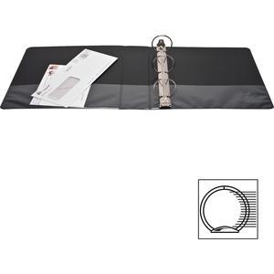"Business Source Round-ring View Binder - 2"" Binder Capacity - Letter - 8 1/2"" x 11"" Sheet Size - 475 Sheet Capacity - Round Ring Fastener(s) - 2 Internal Pocket(s) - Polypropylene - Black - Wrinkle-fr. Picture 11"