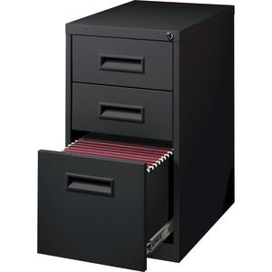 "Lorell Box/Box/File Mobile Pedestal Files - 3-Drawer - 15"" x 19"" x 28"" - 3 x Drawer(s) for Box, File - Letter - Ball-bearing Suspension - Black - Steel - Recycled. Picture 3"