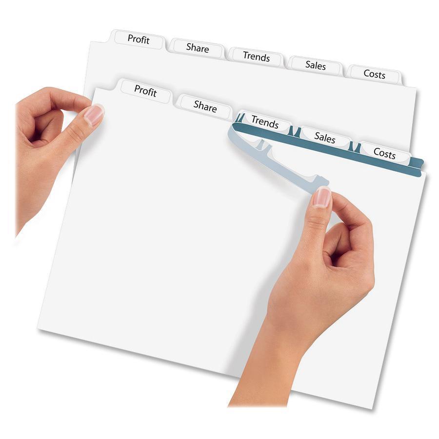 """Avery® Index Maker Index Divider - 5 x Divider(s) - 5 - 5 Tab(s)/Set - 8.5"""" Divider Width x 11"""" Divider Length - 3 Hole Punched - White Paper Divider - White Paper Tab(s) - 5 / Set. Picture 4"""