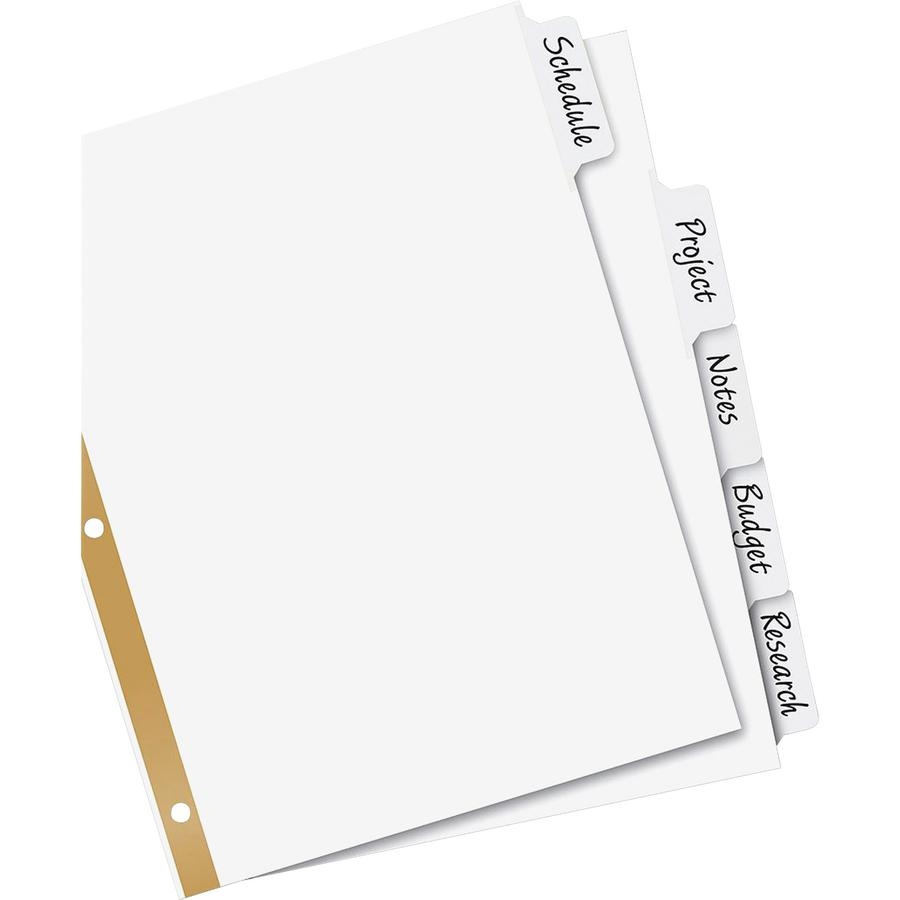 """Avery® Big Tab Eraseable Write-On Dividers - 5 x Divider(s) - 5 Write-on Tab(s) - 5 - 5 Tab(s)/Set - 8.5"""" Divider Width x 11"""" Divider Length - 3 Hole Punched - White Paper Divider - White Paper Ta. Picture 2"""