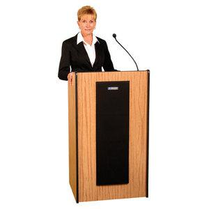 """AmpliVox SW450 - Wireless Presidential Plus Lectern - 46.50"""" Height x 25.50"""" Width x 20.50"""" Depth - Assembly Required - Mahogany. Picture 2"""