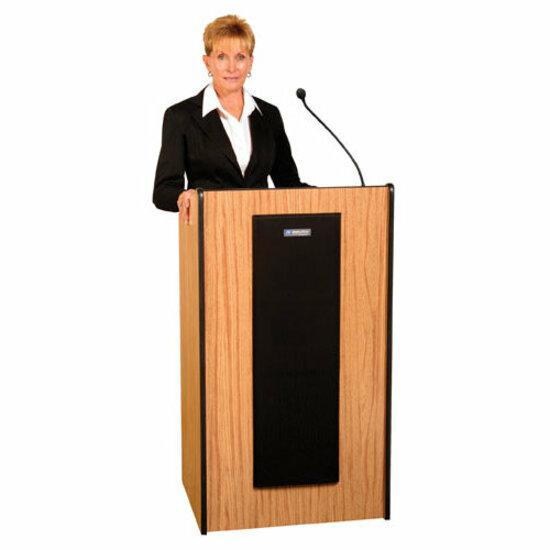 "AmpliVox S450 - Presidential Plus Lectern - Rectangle Top - Sculpted Base - 25.50"" Table Top Width x 20.50"" Table Top Depth - 46.50"" Height - Assembly Required - Laminated, Mahogany, Wood. Picture 2"