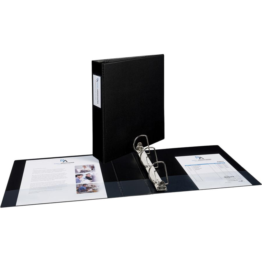 "Avery® Durable 3 Ring Binder, 2"" Slant Rings, 1 Black Binder (27556) - 2"" Binder Capacity - Letter - 8 1/2"" x 11"" Sheet Size - 530 Sheet Capacity - 3 x Slant Ring Fastener(s) - 2 Pocket(s) - Polyp. Picture 4"