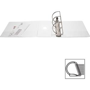 """Business Source Basic D-Ring White View Binders - 5"""" Binder Capacity - Letter - 8 1/2"""" x 11"""" Sheet Size - D-Ring Fastener(s) - Polypropylene - White - 2.10 lb - Clear Overlay - 1 Each. Picture 3"""
