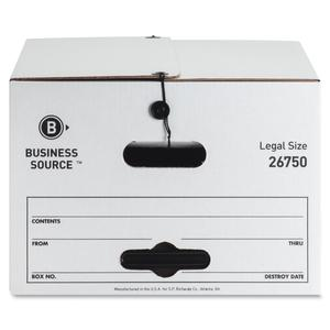 "Business Source Light Duty Legal Size Storage Box - External Dimensions: 15"" Width x 24"" Depth x 10""Height - Media Size Supported: Legal - String/Button Tie Closure - Light Duty - Stackable - White - . Picture 3"