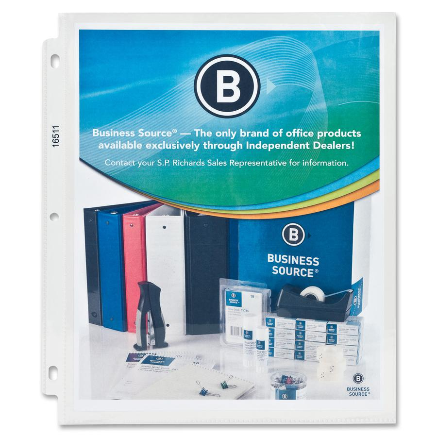 """Business Source Top-Loading Poly Sheet Protectors - 5 mil Thickness - For Letter 8 1/2"""" x 11"""" Sheet - Rectangular - Clear - Polypropylene - 50 / Box. Picture 3"""
