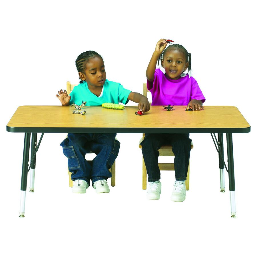 "Berries Elementary Height Color Edge Rectangle Table - Gray Rectangle, Laminated Top - Four Leg Base - 4 Legs - 72"" Table Top Length x 30"" Table Top Width x 1.13"" Table Top Thickness - 24"" Height - As. Picture 2"