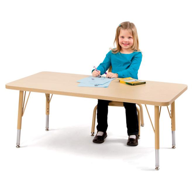 """Berries Elementary Height Color Edge Rectangle Table - Gray Rectangle, Laminated Top - Four Leg Base - 4 Legs - 60"""" Table Top Length x 30"""" Table Top Width x 1.13"""" Table Top Thickness - 24"""" Height - As. Picture 3"""