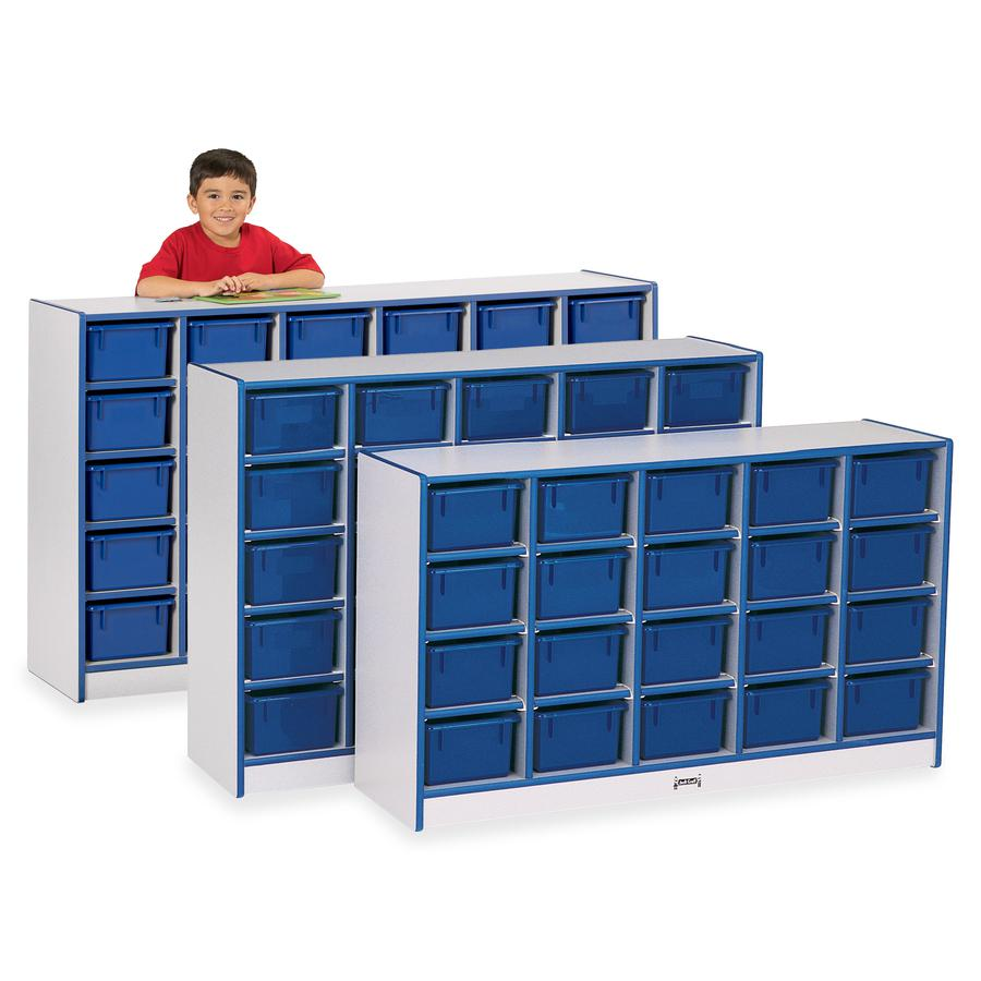 """Rainbow Accents Rainbow Accents Cubbie-trays Storage Unit - 25 Compartment(s) - 35.5"""" Height x 48"""" Width x 15"""" Depth - Blue - Rubber, Wood - 1Each. Picture 2"""