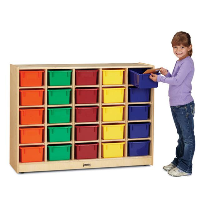 """Jonti-Craft 20 Cubbie-tray Mobile Storage Unit - 29.5"""" Height x 48"""" Width x 15"""" Depth - Baltic - Acrylic, Rubber - 1Each. Picture 2"""