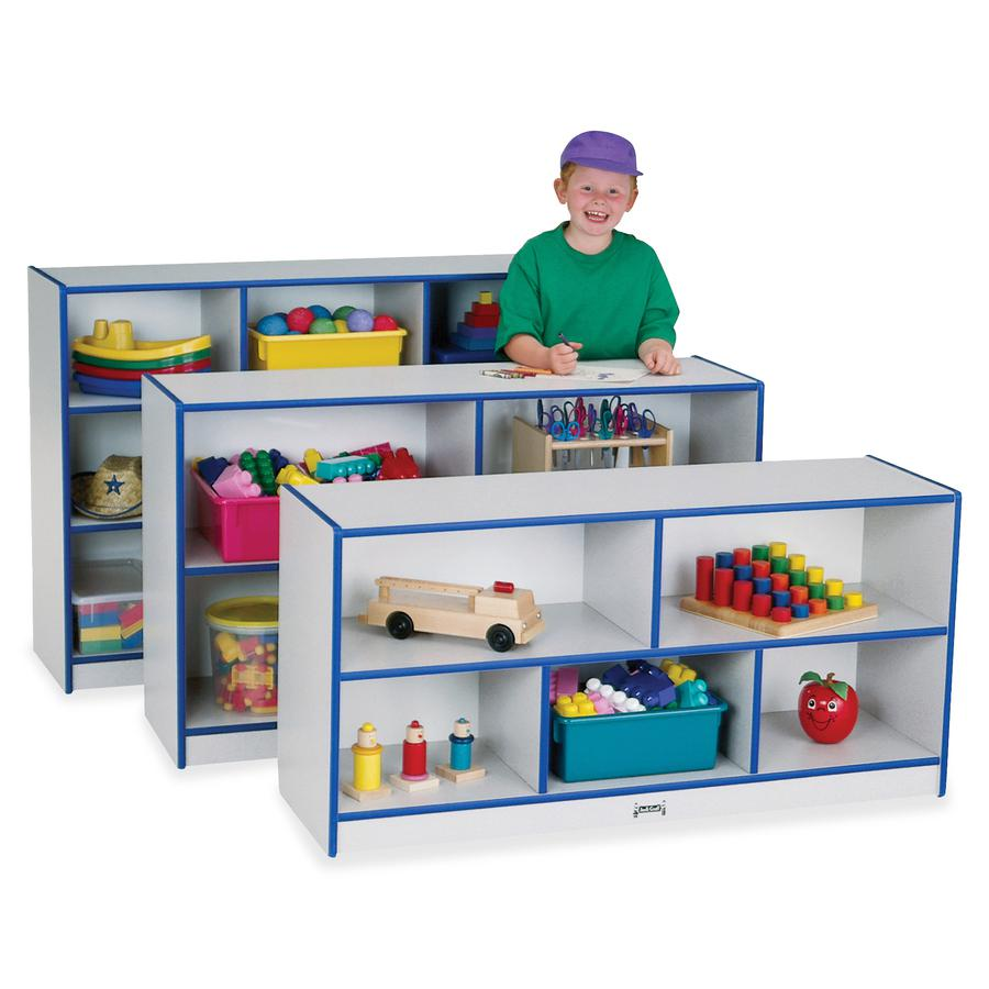 "Jonti-Craft Rainbow Accents Low Open Single Storage Shelf - 29.5"" Height x 48"" Width x 15"" Depth - Teal - Rubber - 1Each. Picture 2"