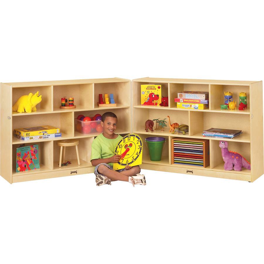 "Jonti-Craft Mobile Fold-n-Lock Open Shelf Unit - 35.5"" Height x 96"" Width x 15"" Depth - Floor - White, Wood Grain - Baltic Birch Plywood - 2 / Each. Picture 2"
