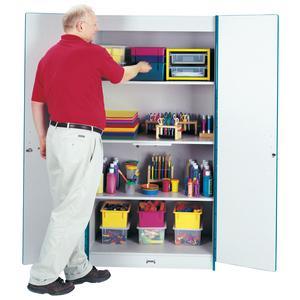 """Rainbow Accents Classroom Closet Deluxe - 36"""" x 24"""" x 72"""" - 3 x Shelf(ves) - Hinged Door(s) - Adjustable Shelf, Locking Door, Key Lock, Kick Plate, Chip Resistant, Rounded Edge, Hinged Door - Red - Gr. Picture 2"""