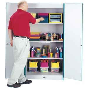 """Rainbow Accents Classroom Closet Deluxe - 36"""" x 24"""" x 72"""" - 3 x Shelf(ves) - Hinged Door(s) - Locking Door, Key Lock, Adjustable Shelf, Hinged Door, Kick Plate, Chip Resistant, Rounded Edge - Green - . Picture 2"""