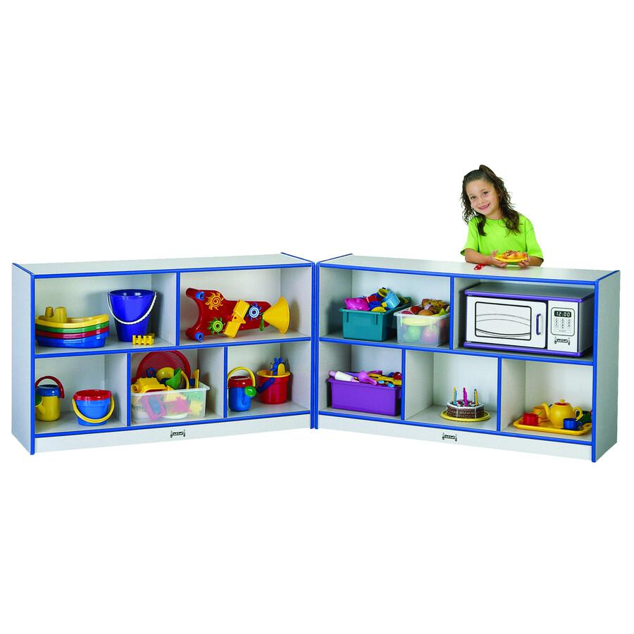 "Jonti-Craft Rainbow Accents Fold-n-Lock Storage Shelf - 29.5"" Height x 96"" Width x 15"" Depth - Navy, Navy Blue - Hard Rubber - 1Each. Picture 2"