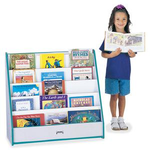"Rainbow Accents Laminate 5-shelf Pick-a-Book Stand - 5 Compartment(s) - 1"" - 27.5"" Height x 30"" Width x 13.5"" Depth - Teal - 1Each. Picture 4"