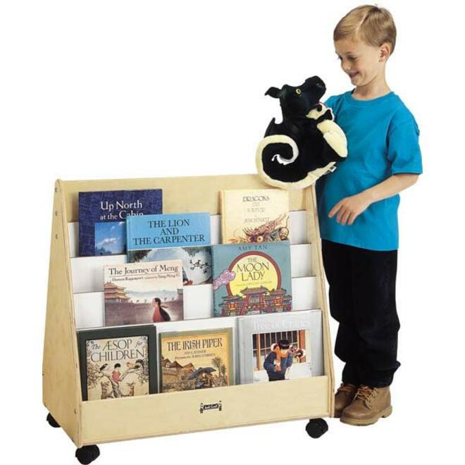 """Jonti-Craft Double Sided Mobile Pick-a-Book Stand - 8 Compartment(s) - 1"""" - 30"""" Height x 30"""" Width x 16.5"""" Depth - Baltic - Birch Plywood - 1Each. Picture 2"""