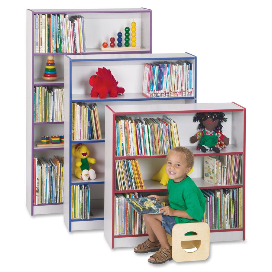 "Rainbow Accents 60"" Bookcase - 59.5"" Height x 36.5"" Width x 11.5"" Depth - Red - 2 / Each. Picture 5"