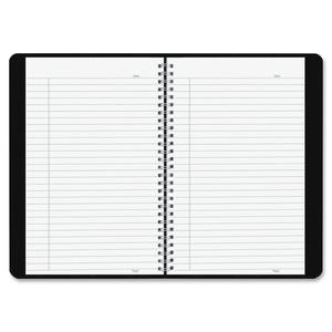 """Blueline Duraflex Notebook - 160 Sheets - Twin Wirebound - Ruled - 9 1/2"""" x 6"""" - Black Cover Textured - Poly Cover - Flexible Cover, Micro Perforated, Durable Cover - Recycled - 1Each. Picture 3"""
