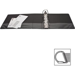 """Business Source Basic D-Ring View Binders - 3"""" Binder Capacity - Letter - 8 1/2"""" Sheet Size - D-Ring Fastener(s) - Polypropylene - Black - Clear Overlay - 1 Each. Picture 5"""