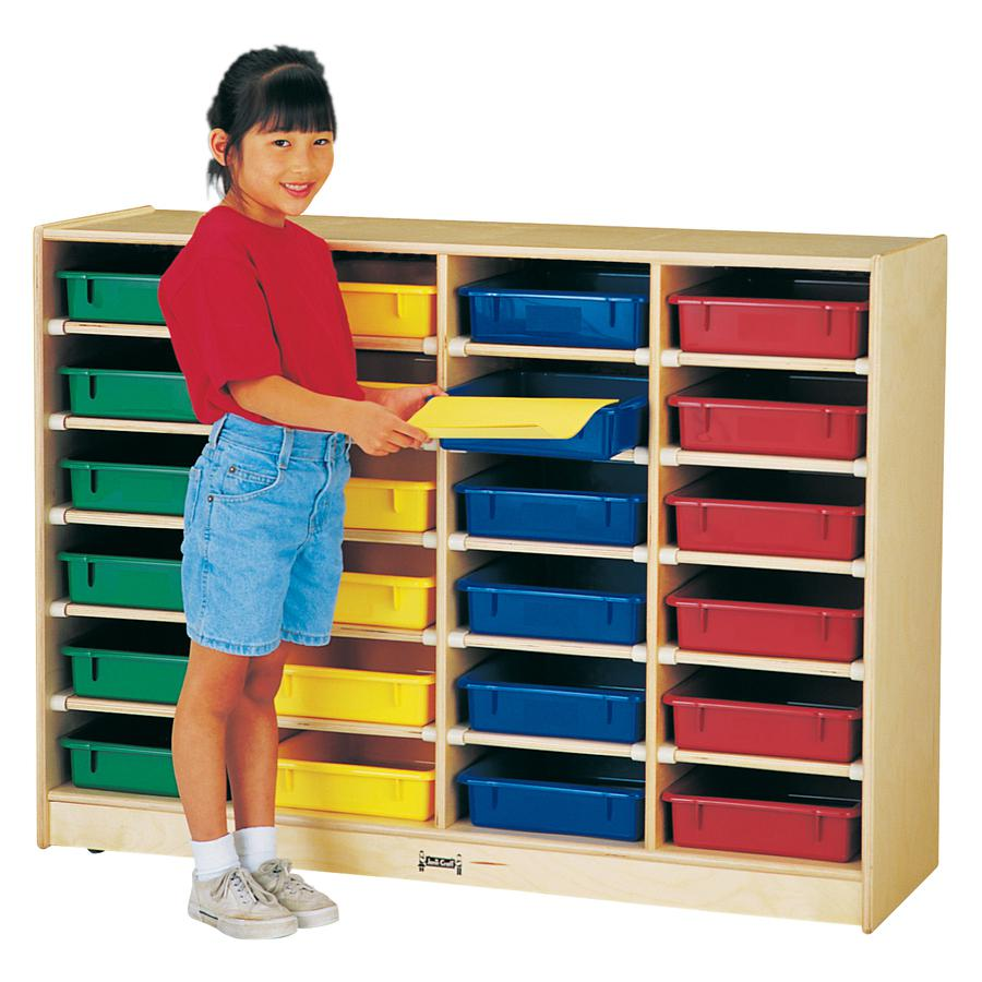 "Rainbow Accents Rainbow Mobile Paper-Tray Storage - 24 Compartment(s) - 35.5"" Height x 48"" Width x 15"" Depth - Red - Rubber - 1Each. Picture 4"
