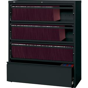 "Lorell Receding Lateral File with Roll Out Shelves - 4-Drawer - 42"" x 18.6"" x 52.5"" - 4 x Drawer(s) for File - Letter, A4, Legal - Leveling Glide, Heavy Duty, Recessed Handle, Ball-bearing Suspension,. Picture 4"