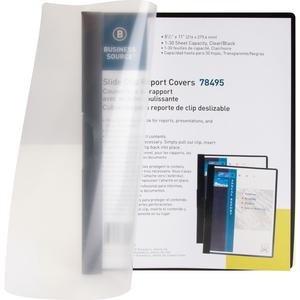 """Business Source Letter Report Cover - 8 1/2"""" x 11"""" - 30 Sheet Capacity - Vinyl - Black - 1 Each. Picture 7"""