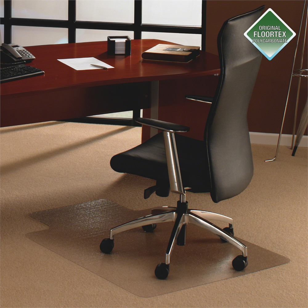 """Cleartex Ultimat Chair Mat, Clear Polycarbonate, For Low & Medium Pile Carpets (up to 1/2""""), Rectangular with Lip, Size 48"""" x 60"""". Picture 4"""