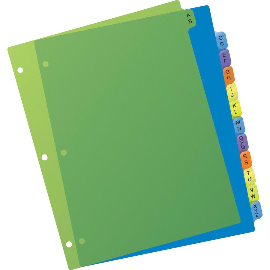 """Avery® Preprinted A-Z Plastic Dividers - 12 x Divider(s) - A-Z - 12 Tab(s)/Set - 8.5"""" Divider Width x 11"""" Divider Length - 3 Hole Punched - Multicolor Plastic Divider - Multicolor Plastic Tab(s) -. Picture 3"""