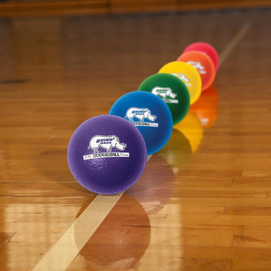 "Champion Sports 6 Inch Rhino Skin Low Bounce Dodgeball Set - 6.30"" - Low Density Foam - Dodgeball - Red, Orange, Yellow, Green, Blue, Purple - 8 / Case. Picture 2"