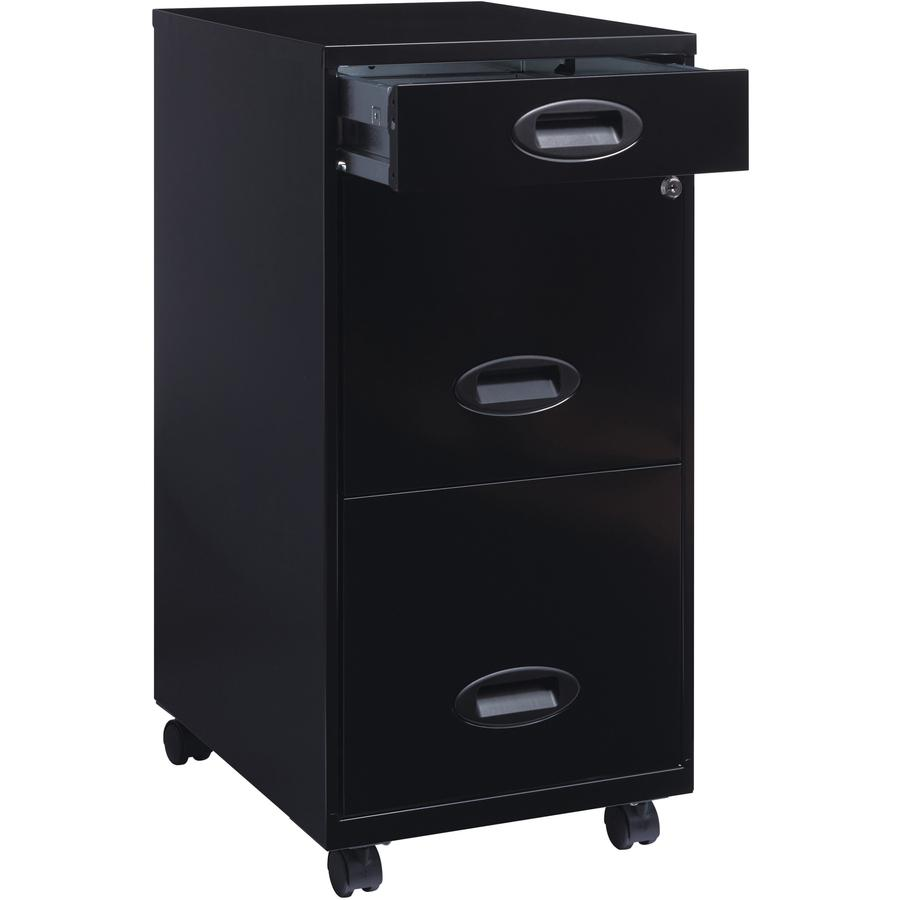 """Lorell SOHO 18"""" 3-Drawer File Cabinet - 14.3"""" x 18"""" x 27"""" - 3 x Drawer(s) for Accessories, File - Letter - Locking Drawer, Glide Suspension - Black - Baked Enamel - Plastic, Steel - Recycled - Assembl. Picture 6"""
