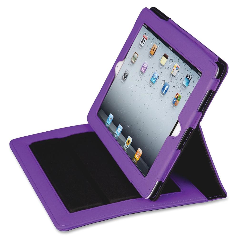 "Fashion Carrying Case (Folio) for iPad - Purple - Polyvinyl Chloride (PVC) - Purple Debossed Diamond, Textured - 10"" Height x 8"" Width x 1"" Depth. Picture 2"