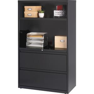 """Lorell 36"""" Lateral Hanging File Drawers Combo Unit - 36"""" x 18.6"""" x 60"""" - 2 x Drawer(s) for File - Legal, Letter, A4 - Lateral - Cable Management, Leveling Glide, Adjustable Glide, Locking Drawer, Dura. Picture 5"""