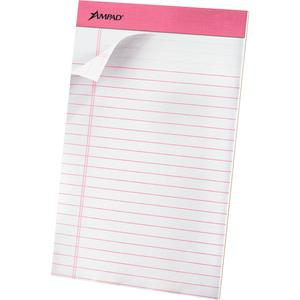 "TOPS Pink Binding Writing Pads - 50 Sheets - 0.28"" Ruled Pink Margin - 20 lb Basis Weight - 5"" x 8"" - White Paper - Pink Binder - Micro Perforated, Chipboard Backing, Heavyweight, Easy Tear - 6 / Pack. Picture 4"