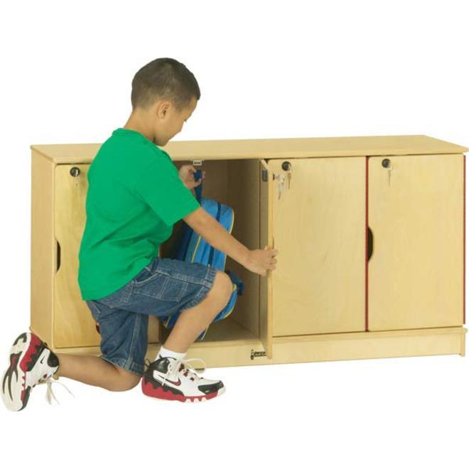 "Jonti-Craft Single Stack 4-Section Student Lockers - 48.5"" x 15"" x 23.5"" - Stackable, Lockable, Sturdy, Key Lock, Kick Plate - Wood Grain - Baltic Birch Plywood. Picture 2"