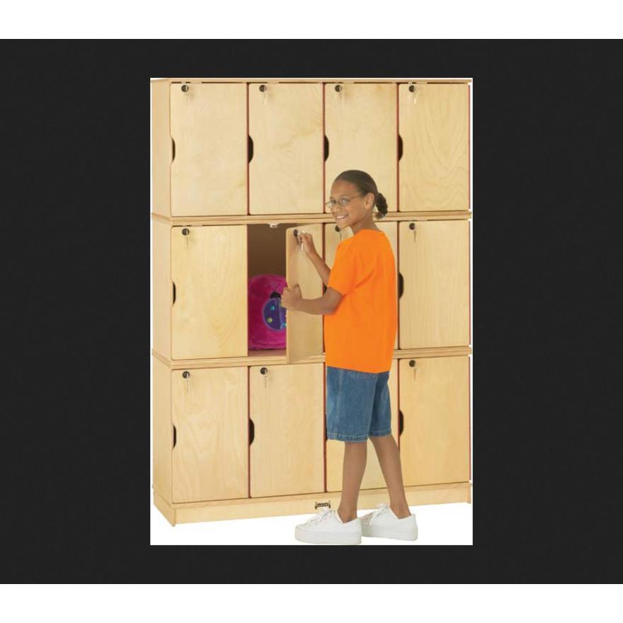 "Jonti-Craft Triple Stack Children's Stacking Lockers - 48.5"" x 15"" x 67"" - Stackable, Lockable, Sturdy, Key Lock, Kick Plate - Wood Grain - Baltic Birch Plywood. Picture 3"