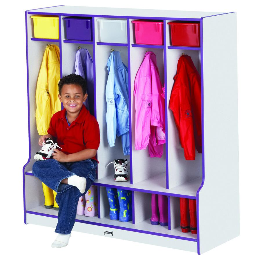"""Jonti-Craft Rainbow Accents Step 5 Section Locker - 5 Compartment(s) - 50.5"""" Height x 48"""" Width x 17.5"""" Depth - Navy, Navy Blue - 1Each. Picture 2"""